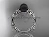 Black Pearl and Diamond Engagement Rings 14kt white gold Flower ring ABP424