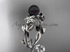 Black Pearl and Diamond Engagement Rings Platinum ABP424