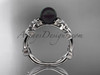 Black Pearl and Diamond Engagement Rings Platinum Flower ring ABP424