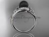 Irish Black Cultured Pearl Engagement Rings 14kt White Gold Diamond Celtic Trinity Knot Wedding Ring CTBP7317