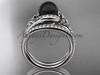 Black Cultured Pearl Celtic Wedding Set 14kt White Gold Diamond Irish Trinity Knot Engagement Ring CTBP7317S