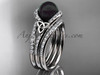 Black Pearl Double Band Engagement Platinum Ring CTBP7317S