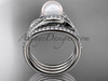 Pearl Double Rings Wedding Set Platinum Diamond Leaf Engagement Ring AP317S