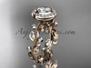 14k rose gold diamond leaf and vine wedding ring, engagement ring ADLR212