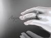 Flower diamond bridal set 14k white gold unusual engagement ring ADLR377S