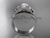 Flower diamond bridal set Platinum unusual engagement ring ADLR377S