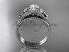 Flower moissanite bridal set 14k white gold unusual engagement ring ADLR377S