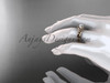Flower moissanite bridal set 14k rose gold unusual engagement ring ADLR377S