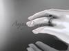Flower bridal set 14k white gold unusual Black diamond engagement ring ADLR377S