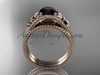 Flower bridal set 14k rose gold unusual Black diamond engagement ring ADLR377S