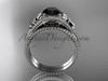Flower bridal set Platinum unusual Black diamond engagement ring ADLR377S