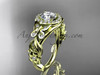 Butterfly Engagement Rings Yellow Gold Moissanite Ring ADLR525