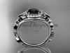 Butterfly Engagement Ring 14kt White Gold Black Diamond Wedding Ring ADLR525