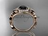 Butterfly Engagement Ring 14kt Rose Gold Black Diamond Wedding Ring ADLR525