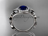 Blue Sapphire Engagement Ring, 14kt White Gold Diamond Butterfly Wedding Ring ADBS525