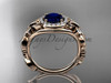 Blue Sapphire Engagement Ring, 14kt Rose Gold Diamond Butterfly Wedding Ring ADBS525