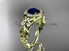 Blue Sapphire Engagement Rings Yellow Gold Butterfly Ring ADBS525