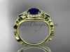 Blue Sapphire Engagement Ring, 14kt Yellow Gold Diamond Butterfly Wedding Ring ADBS525