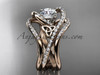 14kt rose gold diamond celtic trinity knot wedding ring, engagement ring with double matching band  CT7369S