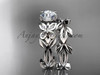 Unique Butterfly Bridal Set 14k white gold Modern Engagement Rings ADLR526S