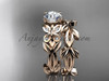 Unique Butterfly Bridal Set 14k rose gold Modern Engagement Rings ADLR526S