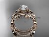 Moissanite Butterfly Wedding Set 14k rose gold Modern Bridal Rings ADLR526S