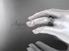 Black Diamond Butterfly Wedding Set 14k white gold Modern Bridal Rings ADLR526S