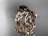 Black Diamond Butterfly Wedding Set 14k rose gold Modern Bridal Rings ADLR526S