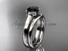 Vintage Wedding Sets White Gold Black Diamond Ring VD10016S