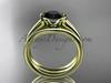 Beautiful Wedding Ring Set 14kt Yellow Gold Black Diamond Engagement Rings VD10016S