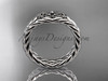 Celtic trinity knot wedding band, 14kt white gold rope ring RPCT9603G