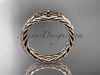 Celtic trinity knot wedding band, 14kt rose gold rope ring RPCT9603G