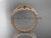 Celtic matte finish wedding band, 14kt rose gold rope ring RPCT9603G