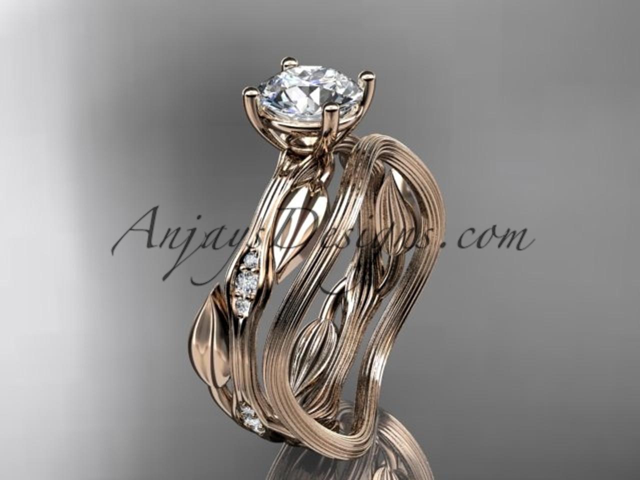 14k rose gold diamond leaf and vine wedding ring set engagement ring set