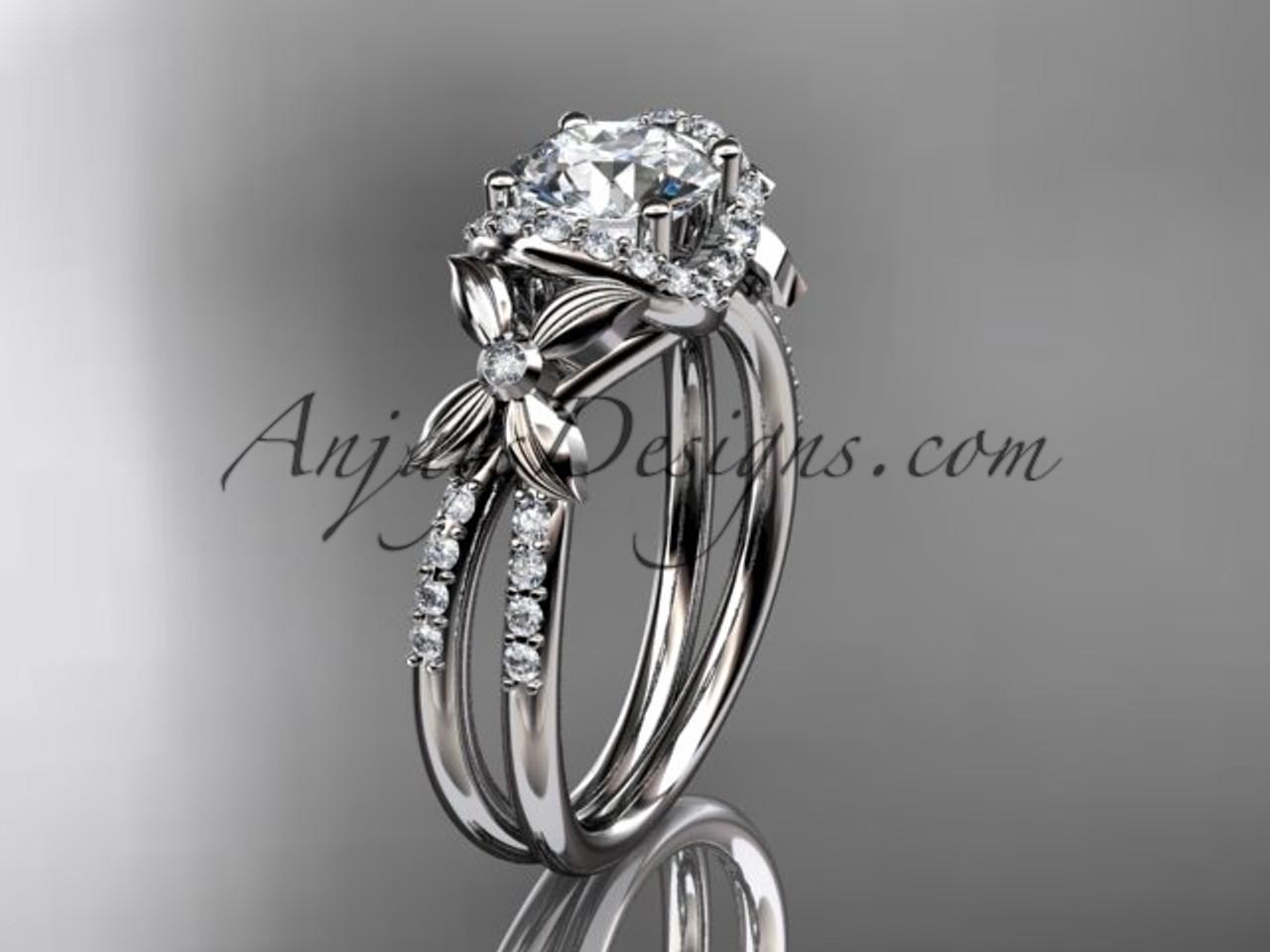14kt White Gold Diamond Floral Wedding Ring Engagement