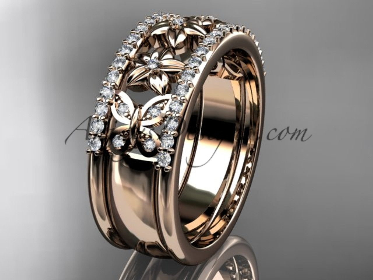 Flower wedding bands gold butterfly proposal rings adlr500b junglespirit Image collections