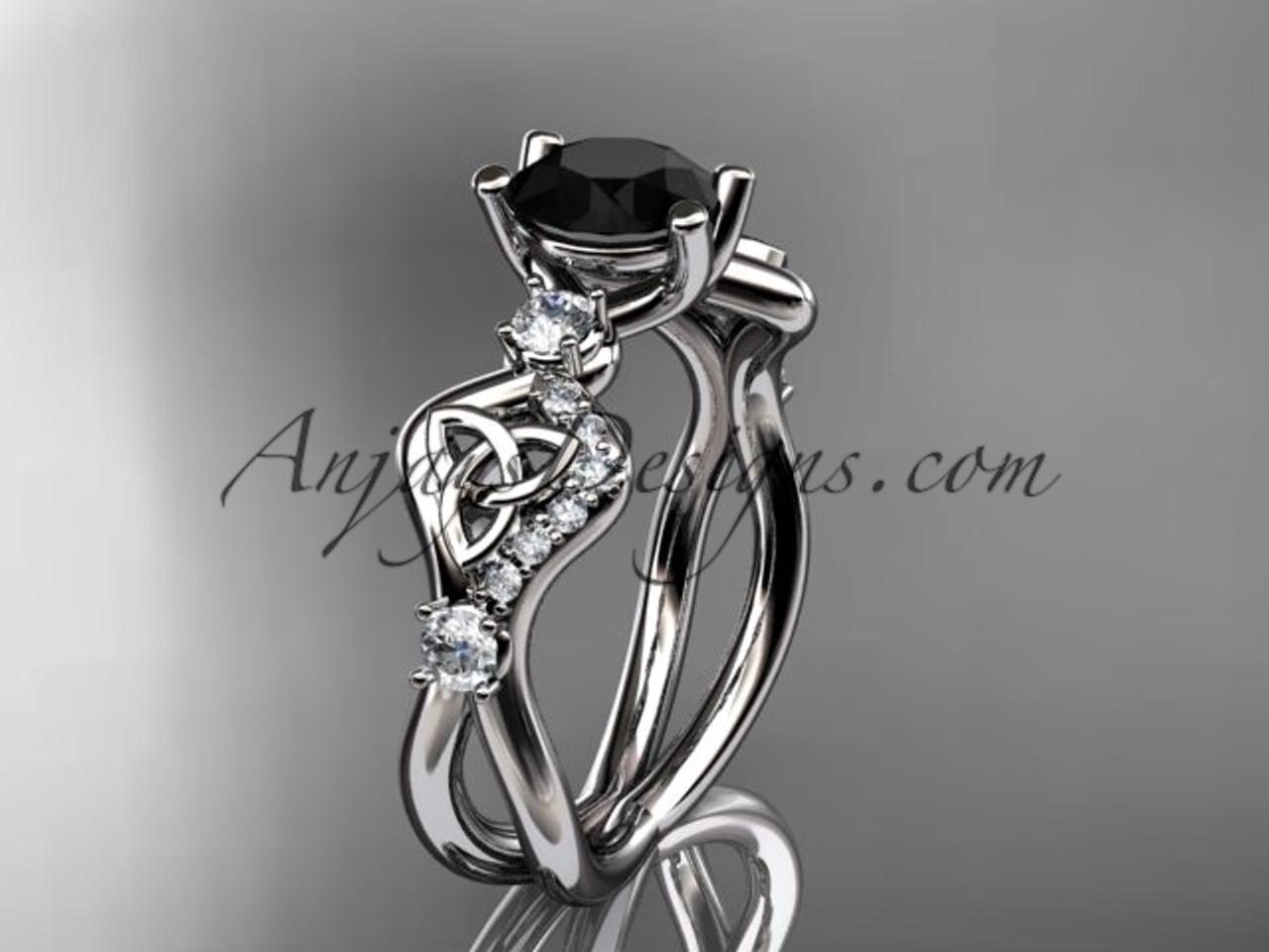 Black Diamond Wedding Ring Set White Gold Celtic Engagement Ring CT768S