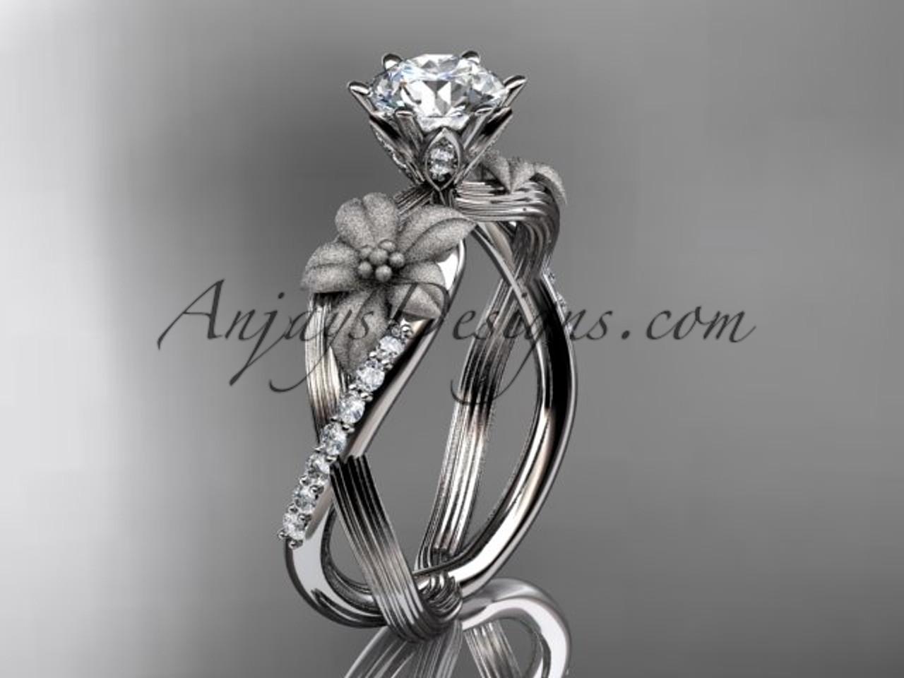 Unique platinum diamond flower leaf and vine wedding ring engagement