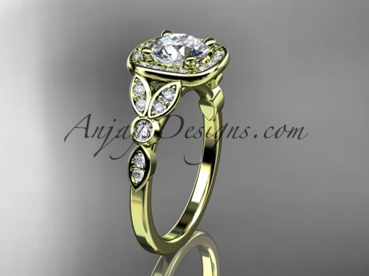 14kt Yellow Gold Diamond Leaf And Vine Wedding Ring