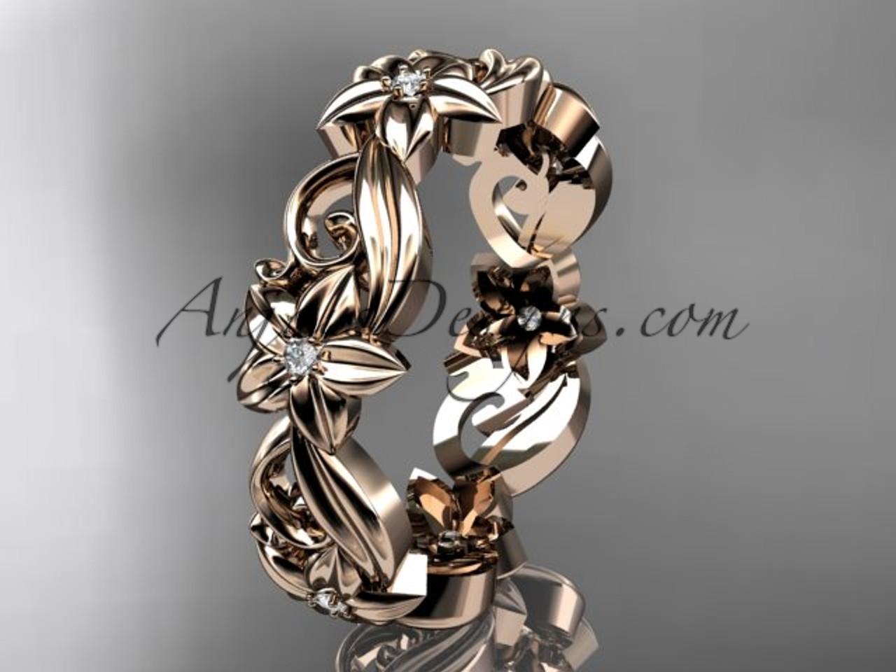 14kt rose gold diamond flower wedding ring engagement ring wedding band