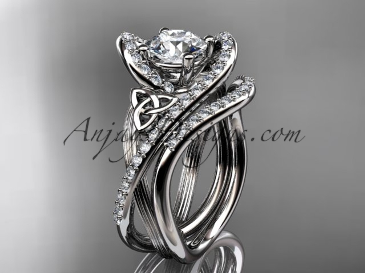 Perfect 14kt White Gold Diamond Celtic Trinity Knot Wedding Ring, Engagement Set  CT7369S