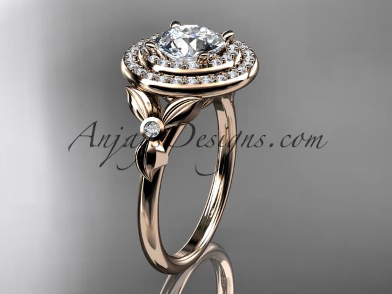 14kt Rose Gold Diamond Floral Wedding Ring Engagement