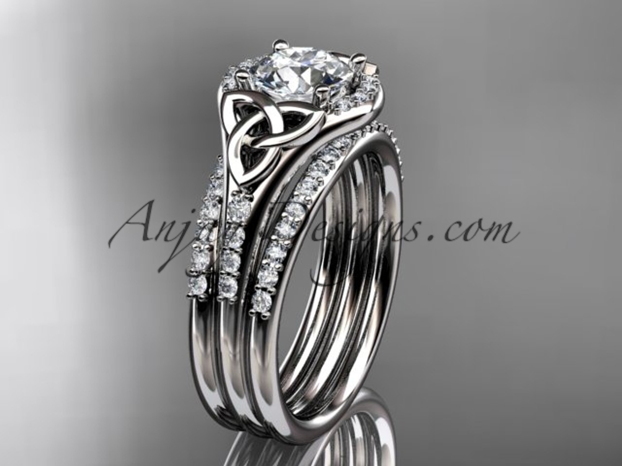 Platinum Diamond Celtic Trinity Knot Wedding Ring Engagement With A Double Matching Band Ct7126s