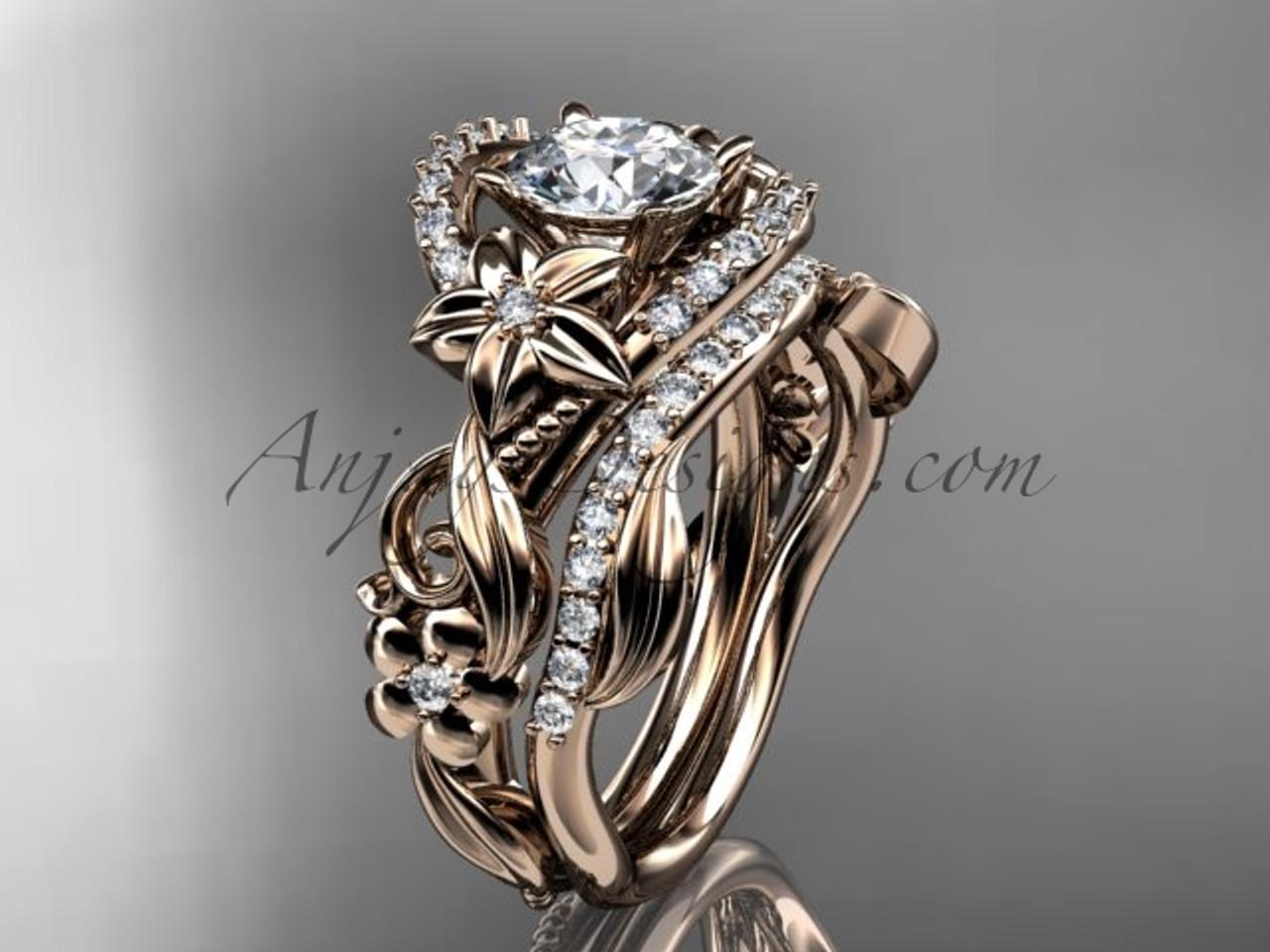 Celtic Bridal Set Rose Gold Flower Wedding Ring Set Adlr211