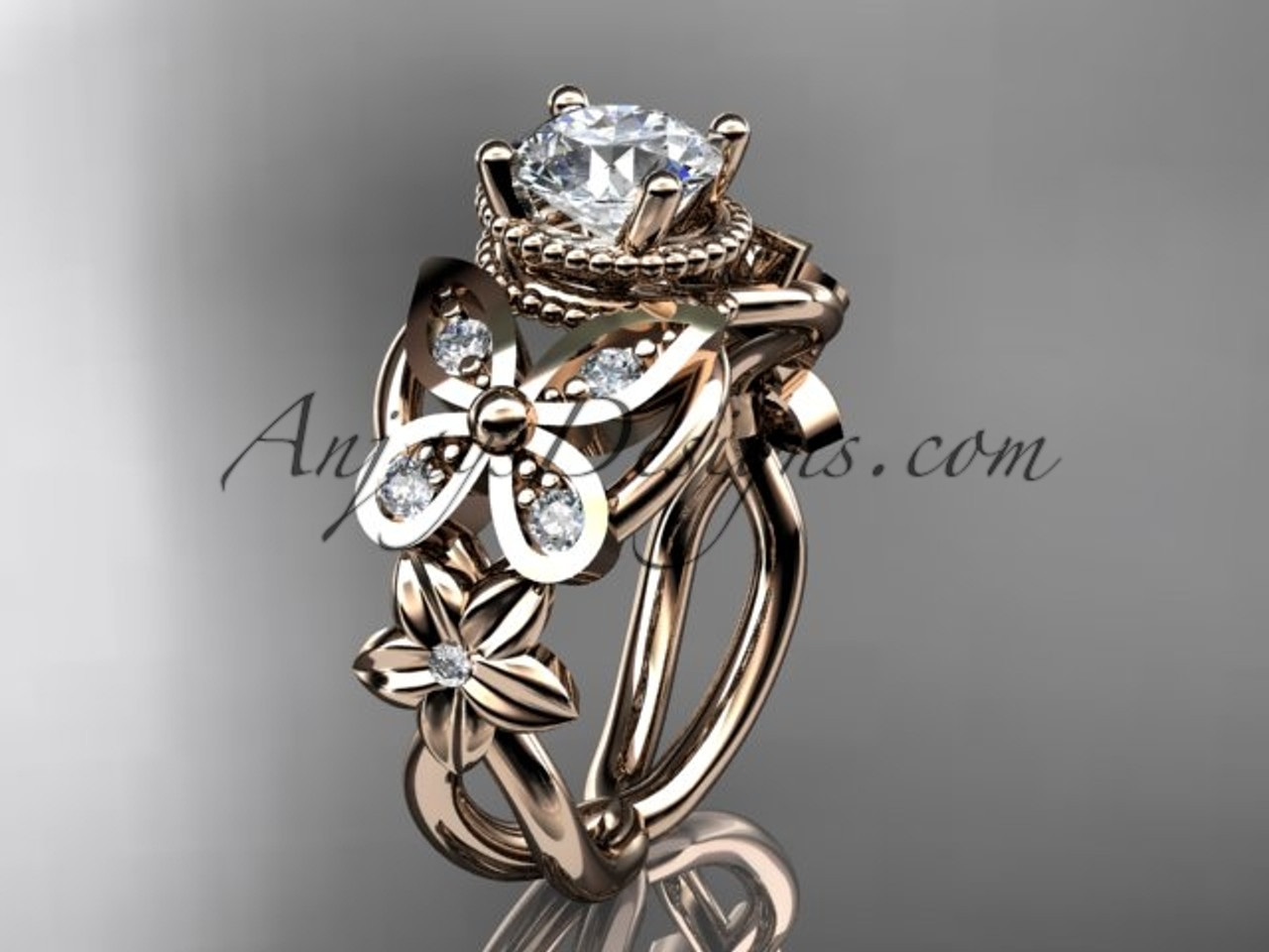 14kt Rose Gold Diamond Floral Butterfly Wedding Ring