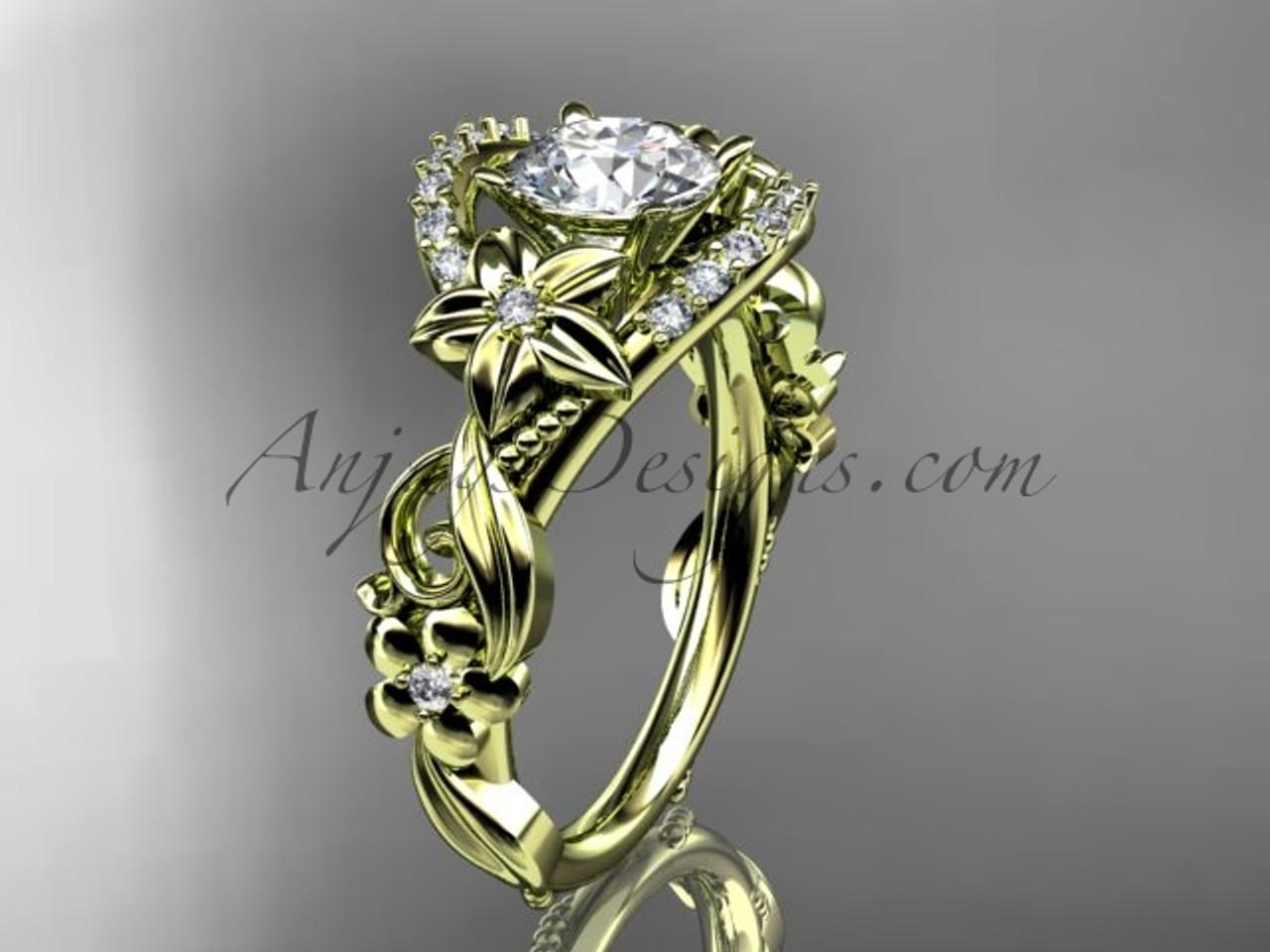 Simple yellow gold wedding ring flower bridal ring adlr211 mightylinksfo