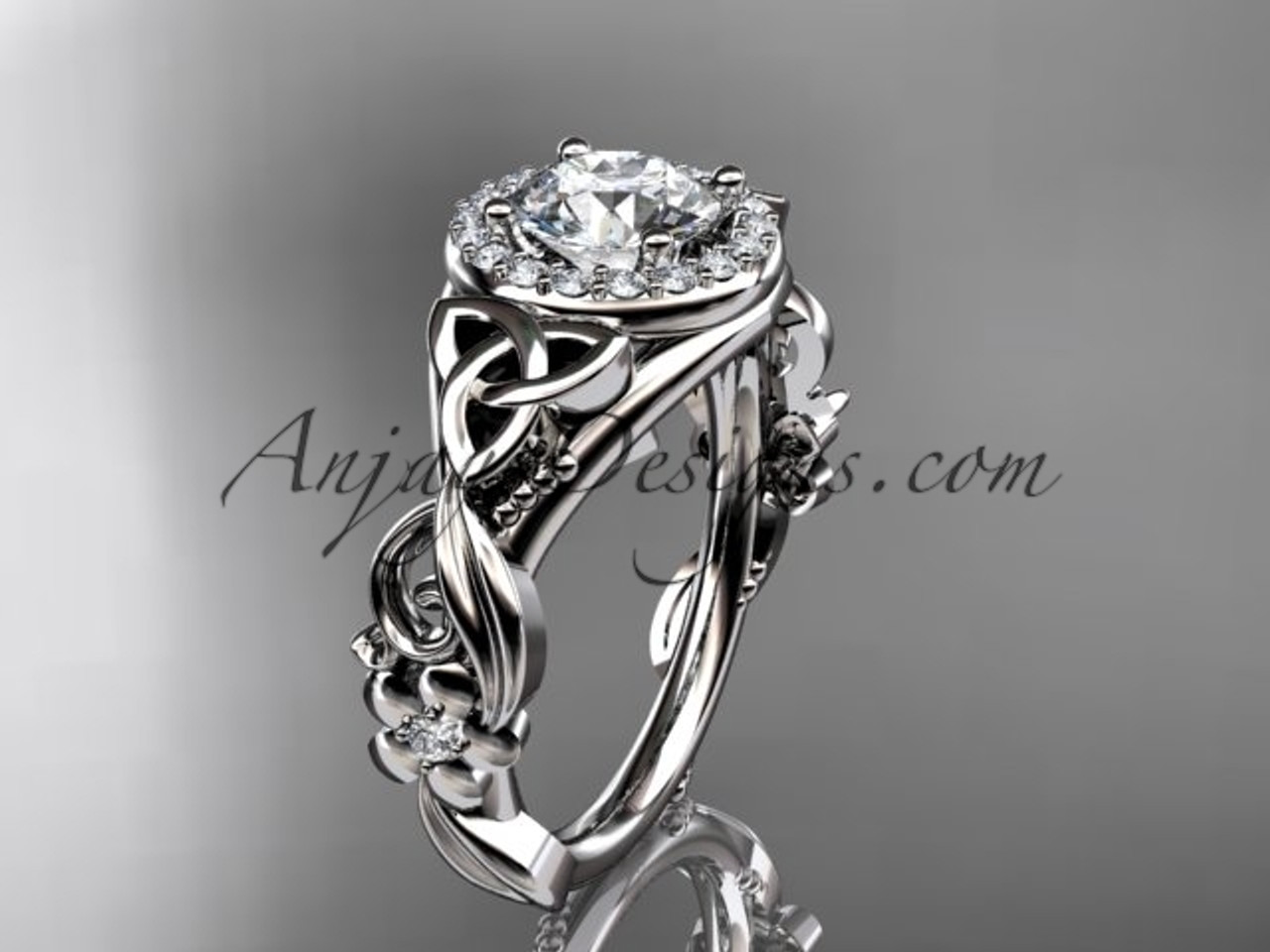 white gold diamond celtic trinity knot wedding ring engagement ring