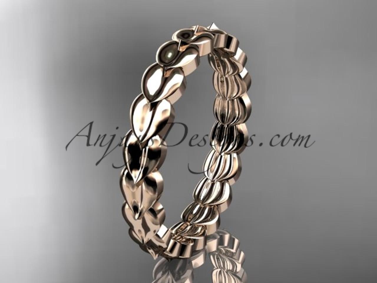 14kt Rose Gold Leaf Wedding Ring Engagement Band Adlr35b