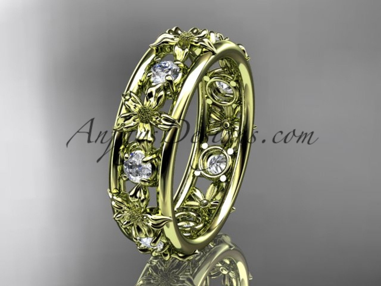 Beau 14kt Yellow Gold Diamond Leaf Wedding Ring, Engagement Ring, Wedding Band  ADLR160B Nature Inspired
