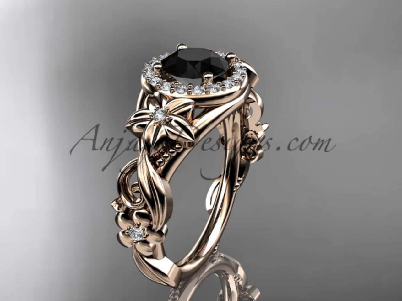 14kt rose gold diamond unique engagement ring wedding ring black diamond